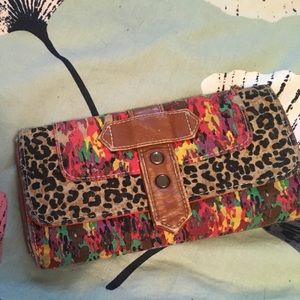 Rainbow and leopard print wallet